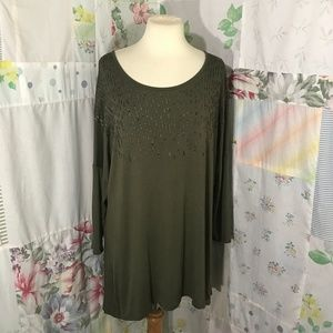 Apt. 9 Army Green Beaded Blouse